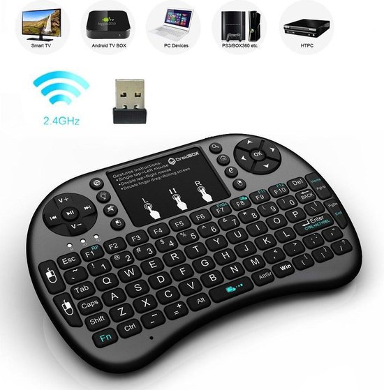Draadloos mini multimedia toetsenbord met touchpad + oplaadbare accu Android Tv Box, PS4, Xbox