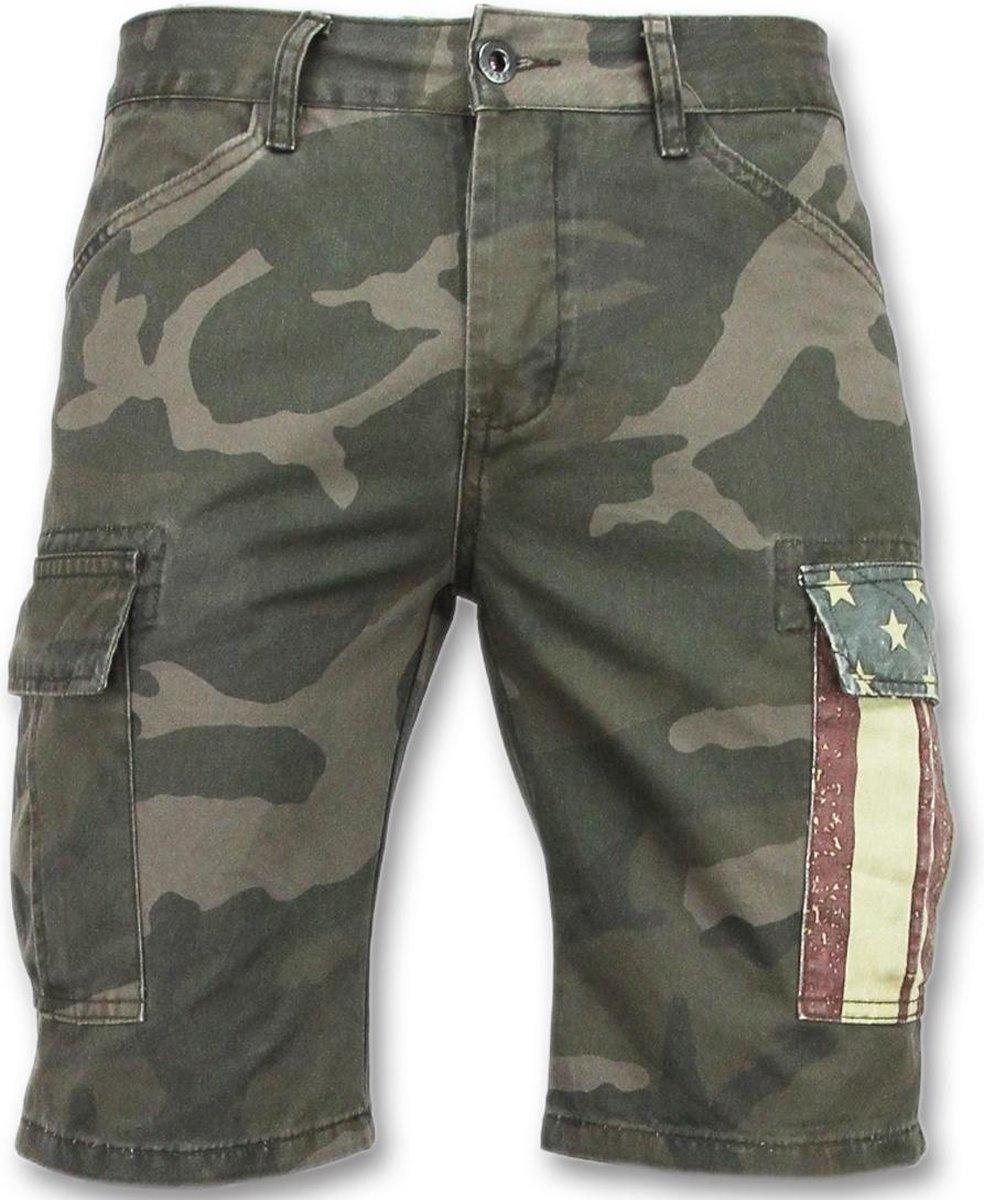 Enos Camouflage korte broek mannen Goedkope bermuda broeken 9017 Groen Grijs Maten: 34
