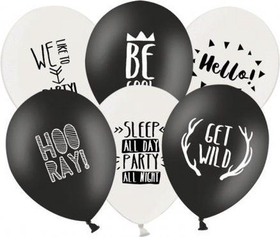 Feestballonnen zwart en wit 18 stuks