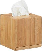 relaxdays tissue box vierkant - zakdoekjes houder van hout - tissuehouder - zakdoekendoos
