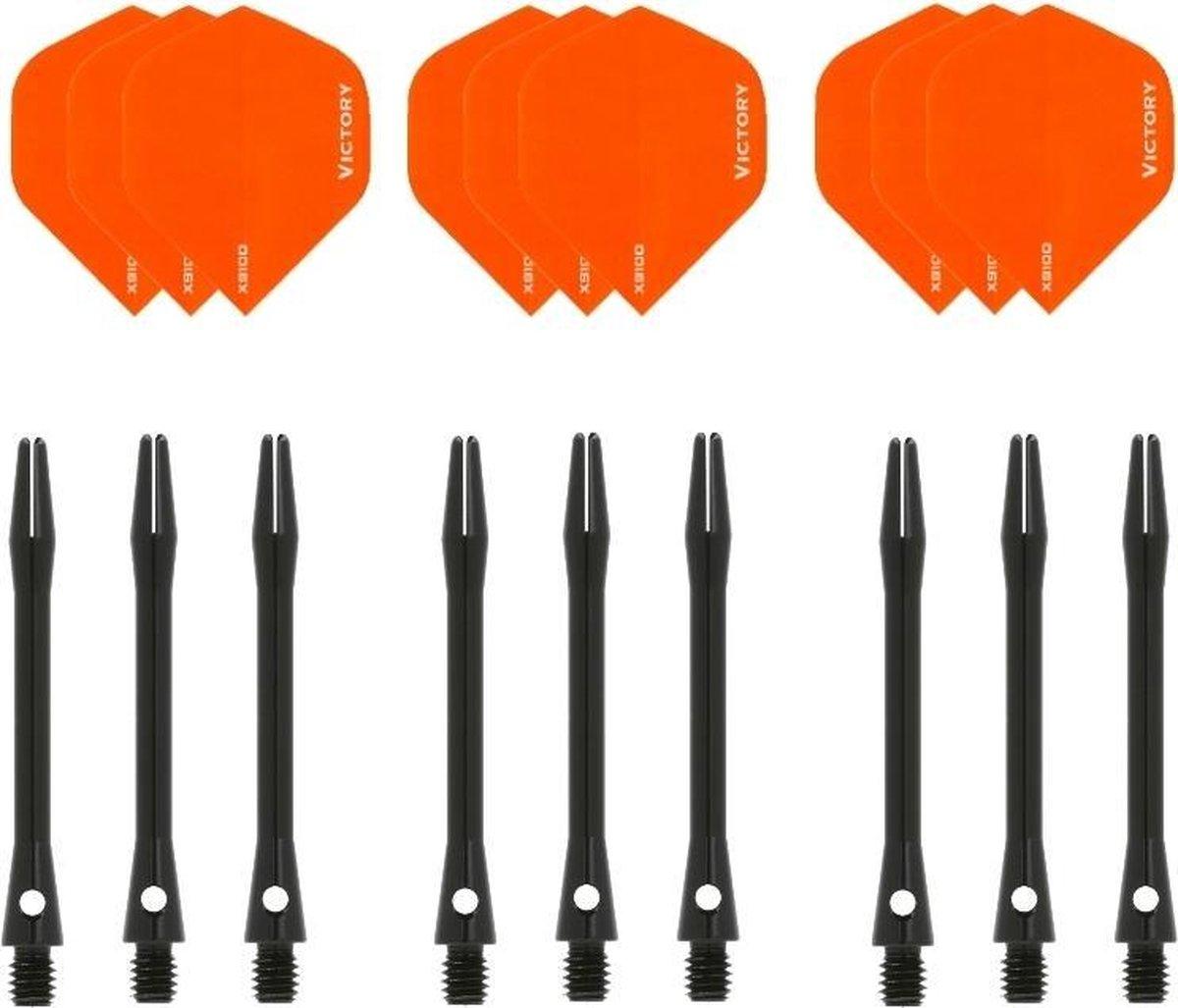 Dragon darts - 3 sets - XS100 Poly - Oranje - Darts flights - plus 3 sets - aluminium - darts shafts - zwart - medium