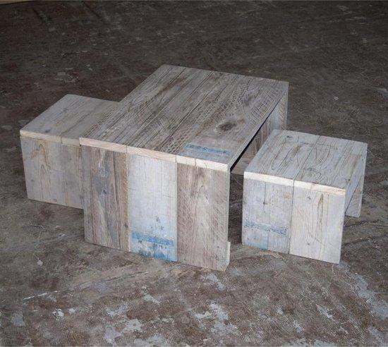 Afbeelding van het spel Steigerhouten Kinderset: Kindertafel met 2 Krukken