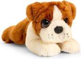 Keel Toys pluche Bulldog bruin/wit honden knuffel 25 cm - Honden knuffeldieren - Speelgoed voor kind
