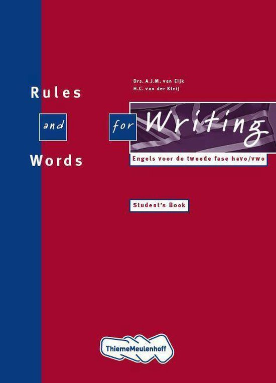 Boek cover Rules and words for writing Havo/vwo Students book van A.J.M. van Eijk (Paperback)