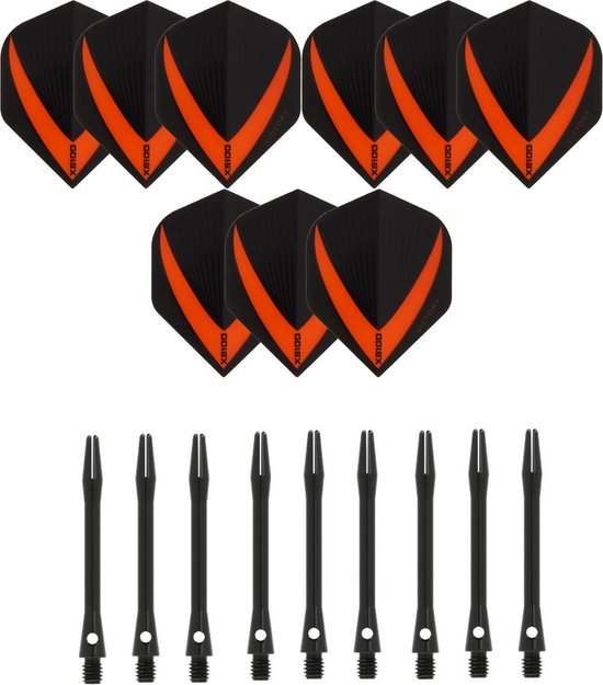 3 sets (9 stuks) Super Sterke – Oranje - Vista-X – darts flights – inclusief 3 sets (9 stuks) - medium - Aluminium - zwart - darts shafts