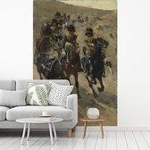 Fotobehang vinyl - De Gele Rijders - Schilderij van George Hendrik Breitner breedte 215 cm x hoogte 320 cm - Foto print op behang (in 7 formaten beschikbaar)