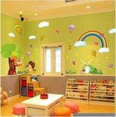 Vrolijke Premium Muursticker Landschap Met Dieren XL Eekhoorn Vogel Regenboog Molen - Voor Kinderkamer / Babykamer V2