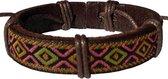 Fako Bijoux® - Armband - Leder - Inka Ruit - Oranje