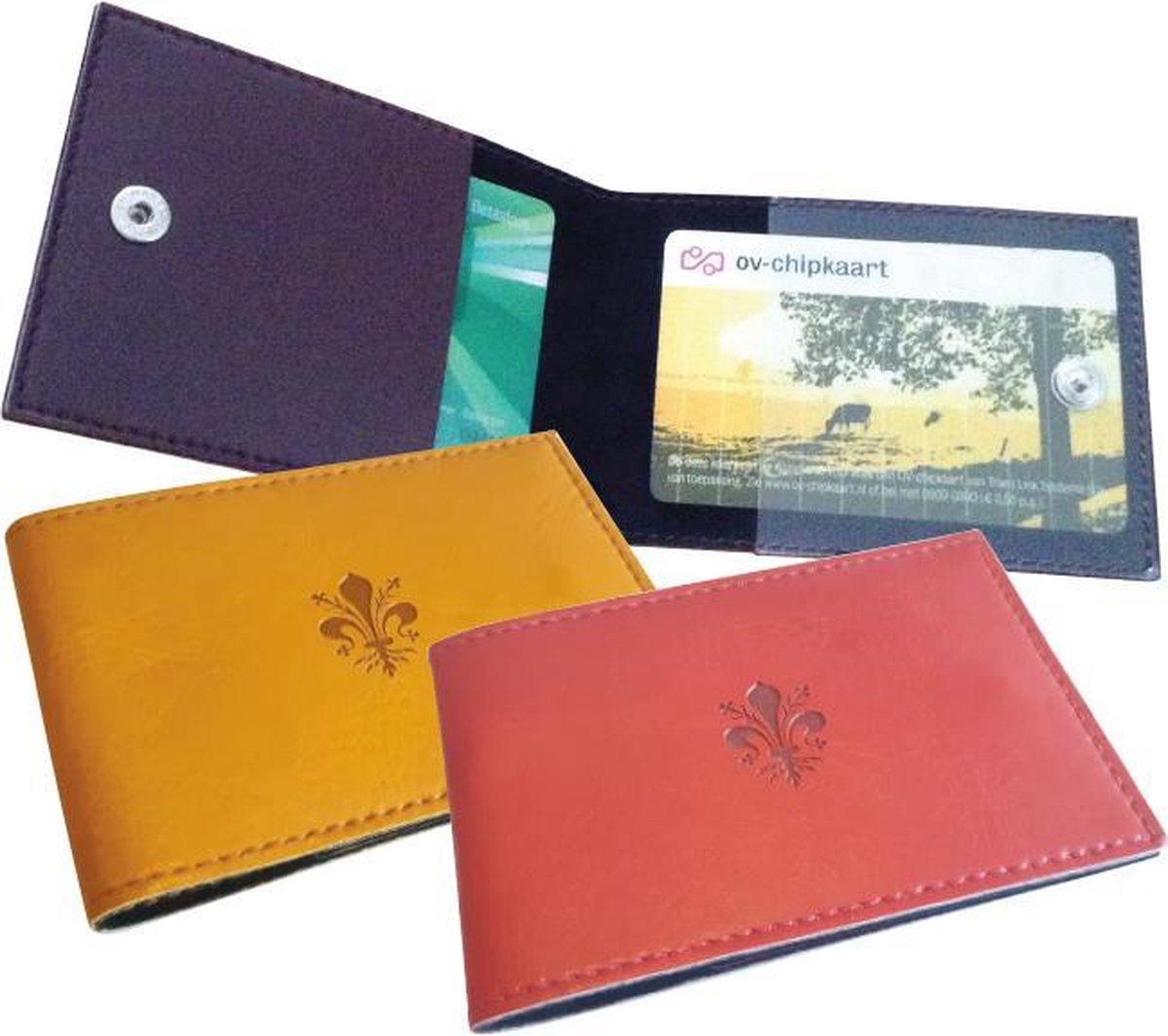 OV Chipkaarthouder,  Kaart portemonnee, Kaarthouder, Pasjeshouder, Creditcardhouder met 2 binnenzakken - Donkerrood | Lily Collection