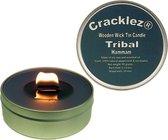 4 stuks Cracklez® Knetter Houten Lont Geurkaarsen in blik Tribal Hammam. Spa. Eucalyptus en Pepermunt. Donker-grijs. Aromatherapie.