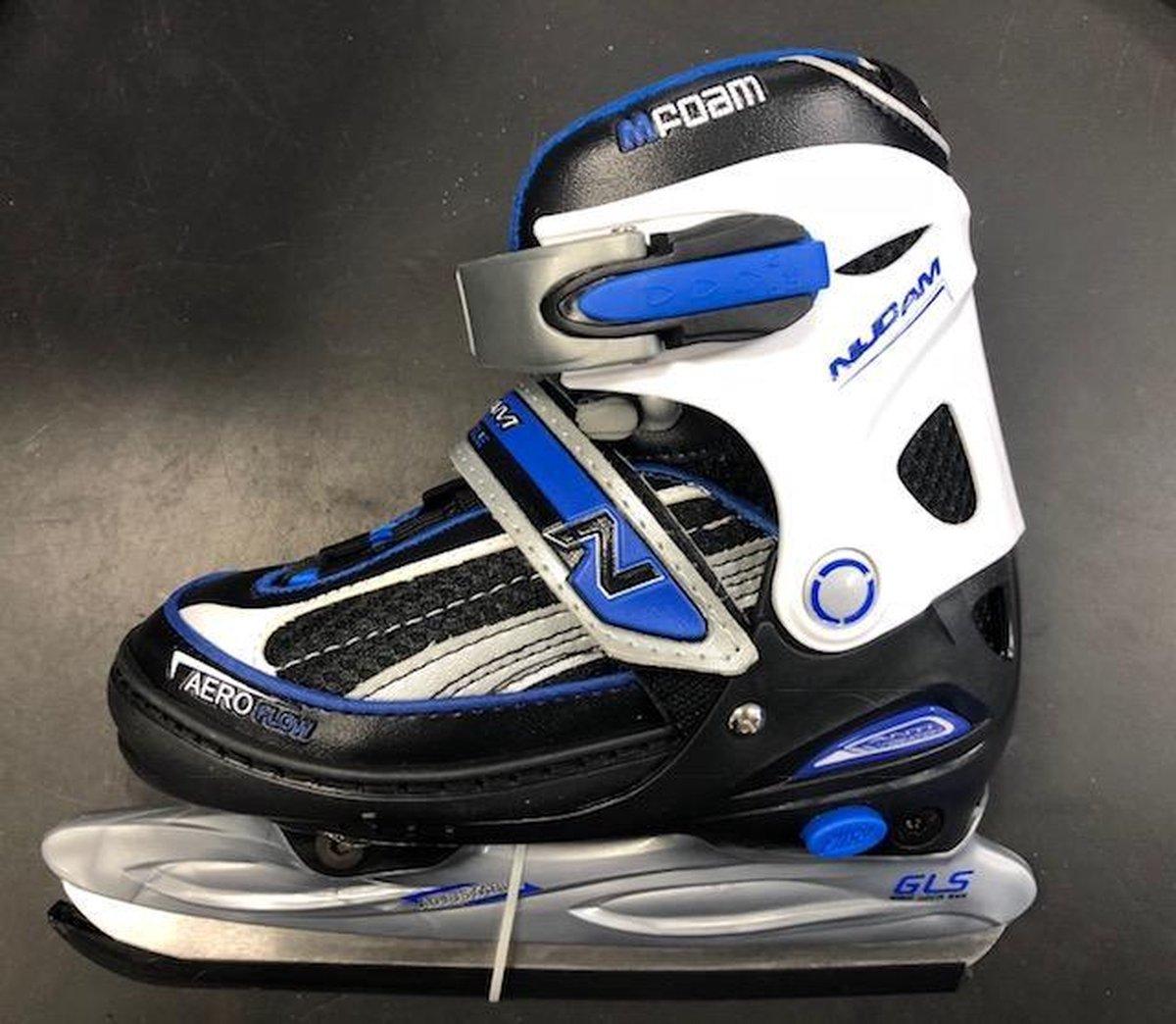 Nijdam 0128 Junior IJshockeyschaats - Verstelbaar - Semi-Softboot - Zwart/Blauw - Maat 30-33,Nijdam