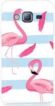 Galaxy J3 (2016) Hoesje Flamingo Feathers