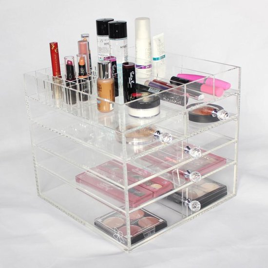 Make up organizer 5 lades - Extra Groot 30x30x28cm - Transparant Acryl - Mirrors and Dressers
