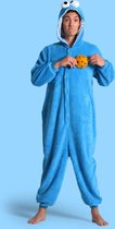 KIMU Onesie Koekiemonster pak kostuum Sesamstraat - maat L-XL - blauw Koekiemonsterpak jumpsuit huispak
