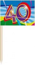 50x Cocktail prikkers 40 jaar thema leeftijd feestartikelen/versieringen