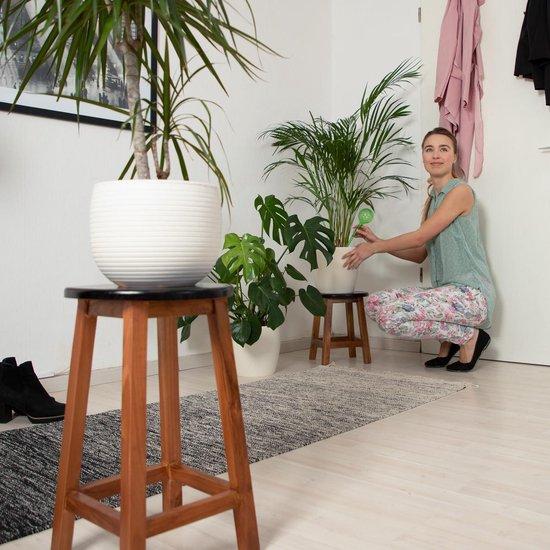 relaxdays plantentafel kruis - kruk - bloementafel - houten krukje - zetel - plantenkruk L - Relaxdays