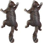 wanddecoratie gietijzeren eekhoorn - set van 2 - gietijzer