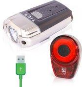 TIGR Ultraheldere LED Fietsverlichtingsset - USB Oplaadbaar - 300 Lumen - Inclusief Siliconenhouders - 2020 Model Met Lage-Batterij Indicator