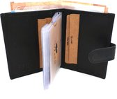 RFID Pasjeshouder met geld en munten ruimte - lederen portemonnee - Zwart  Van Fiel