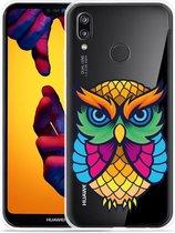 Huawei P20 Lite Hoesje Colorful Owl Artwork