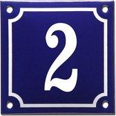 Emaille huisnummer blauw/wit nr. 2