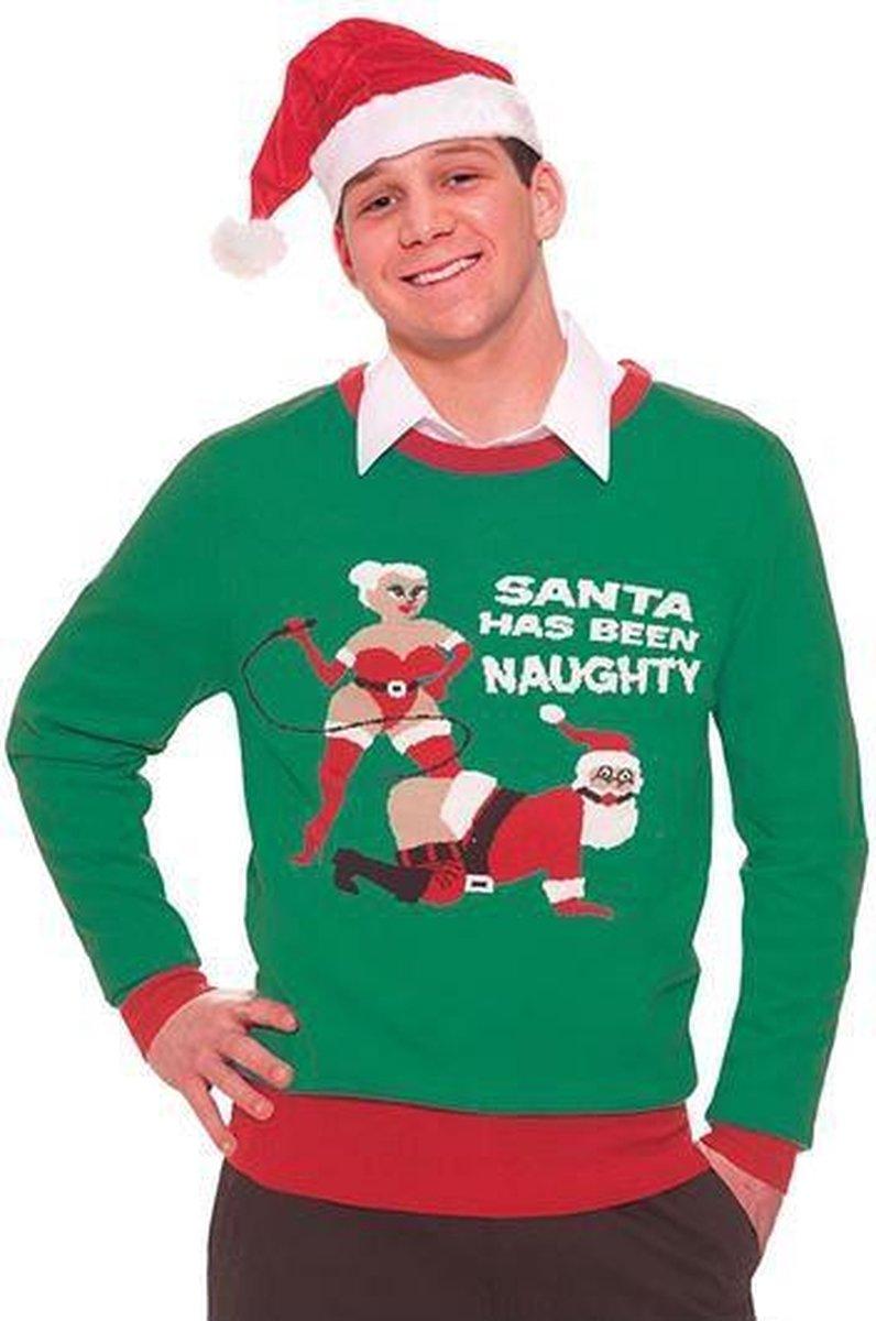 Foute kersttrui Naughty Santa L - Merkloos