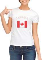 Wit dames t-shirt met vlag van Canada L