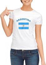 Wit dames t-shirt met vlag van Argentinie L