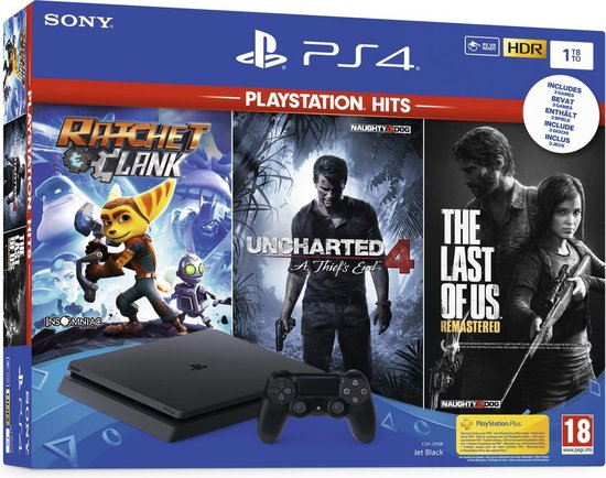 Afbeelding van Sony PlayStation 4 Slim 1TB console + Ratchet and Clank + The Last of Us + Uncharted 4
