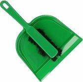 Plastic stoffer en blik groen