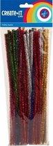 Chenilledraad diverse kleuren met glitters 30 cm 50 stuks - hobby knutselen draad materialen