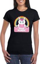 Miss Magic de eenhoorn t-shirt zwart voor dames - eenhoorns shirt XL