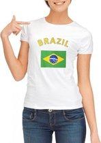 Wit dames t-shirt met vlag van Brazilie Xl