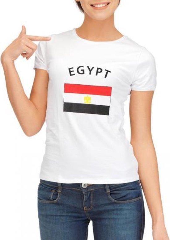 Wit dames t-shirt met vlag van Egypte L