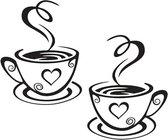 Muursticker met twee kopjes dampende koffie  - kleur zwart - afmetingen 31 cm X 18,7 cm (LxB)