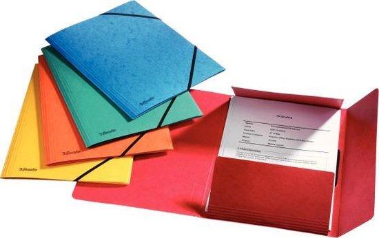 Esselte Rainbow 3-klepsmap met elastiek - A4 - 5 stuks - assorti - Voor Thuiswerken - Ideaal Voor Thuiskantoor