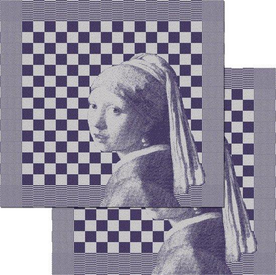 DDDDD Girl with a Pearl - Theedoeken Set - Blue - 2 Stuks