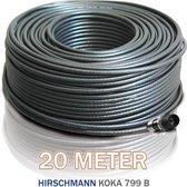 20 meter coax Hirschmann Koka 799 zwart met 1 x F - connector