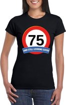 Verkeersbord 75 jaar t-shirt zwart dames XL