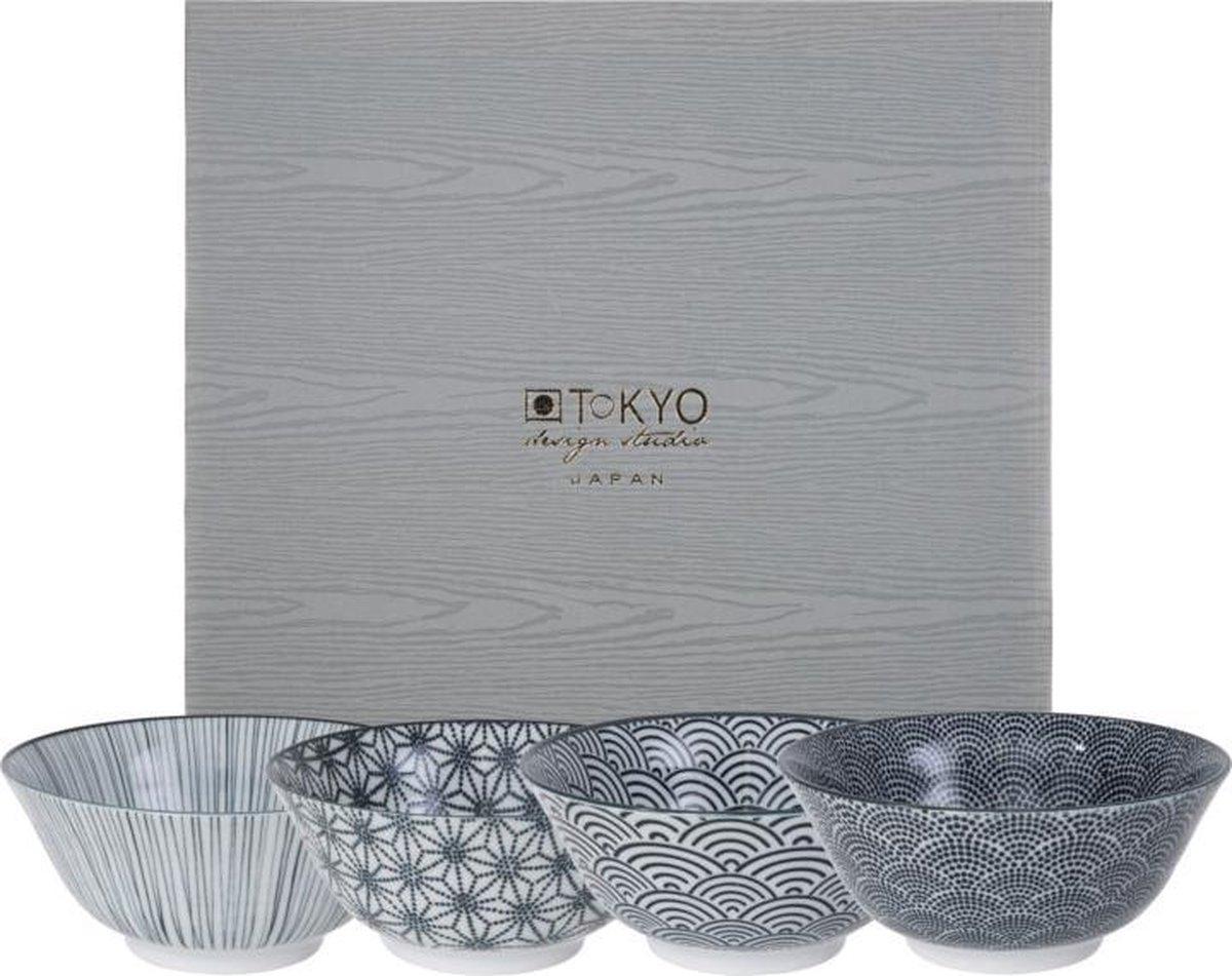 Tokyo Design Studio Nippon Black Set van 4 Kommen - Ø 15,2 cm - Geschenkdoos - Tokyo Design Studio
