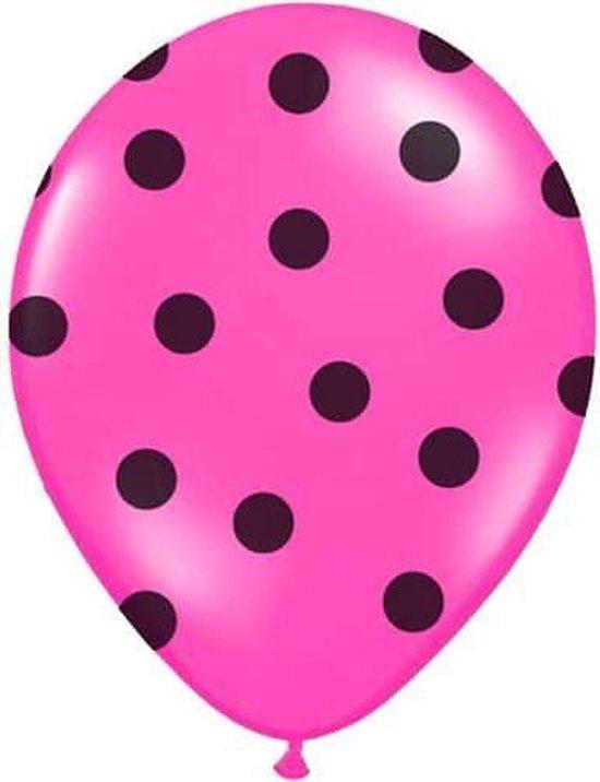 Ballonnen Fuchsia dots zwart 10 stuks