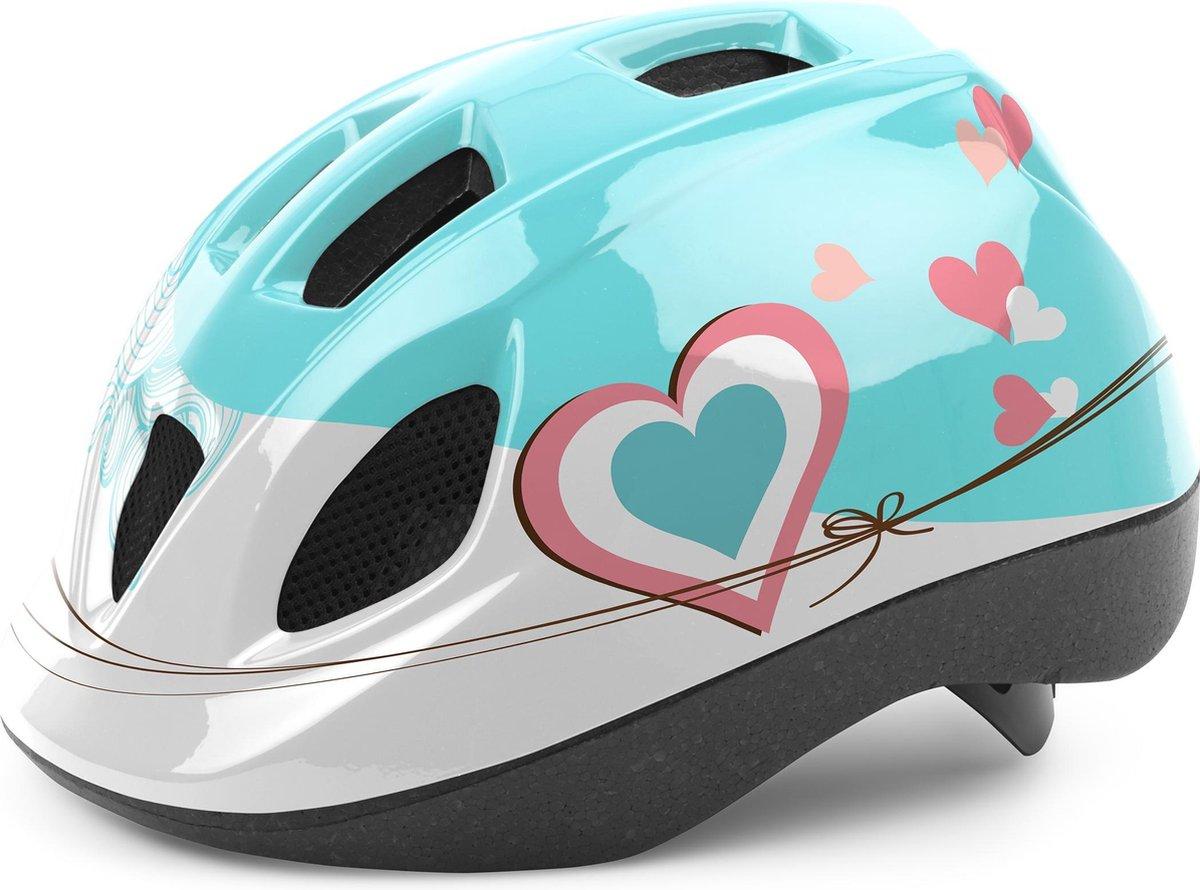 Cycle Tech Kinderhelm Hartjes Blauw/wit Maat 52-56 Cm