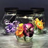Gadgy Solar Jar set 3st. – 3 glazen potten met LED verlichting – Tafellamp met dag/nacht sensor – 7x13 cm - buitenlamp zonne energie – solar tuinverlichting
