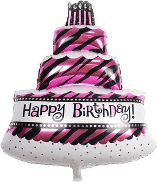 Grote happy birthday slagroomtaart met kaarsjes ballon 48 cm