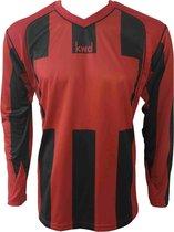 KWD Sportshirt Napels lange mouw - Rood/zwart - Maat XL