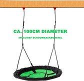 IMPAQT Nestschommel buitenspeelgoed 100cm diameter - inclusief schoonmaakborstel - Slinger schommel- Nest Schommel - Groen