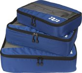 TravelMore Packing Cubes Set - Koffer Organizer - Bagage Inpak Kubussen - Pack Compression Cubes - Travel Bag Ordening - Reis Accessoires - Tas Opbergzakken - 3 Stuks - Donkerblauw