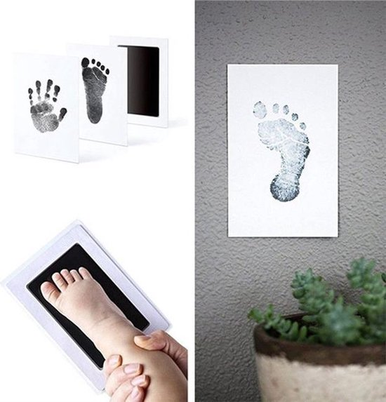 Baby Voetafdruk en Baby Handafdruk Inkt - Geschenkset (zwart) - incl. 2 x witte kaartjes en handleiding