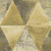 Hexagone driehoek zwart/goud modern (vliesbehang, goud)
