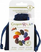 Crayon Rocks - ecologische niet giftige waskrijtjes, pengreep stimulerend - 8 kleuren in een blauw fluwelen zakje